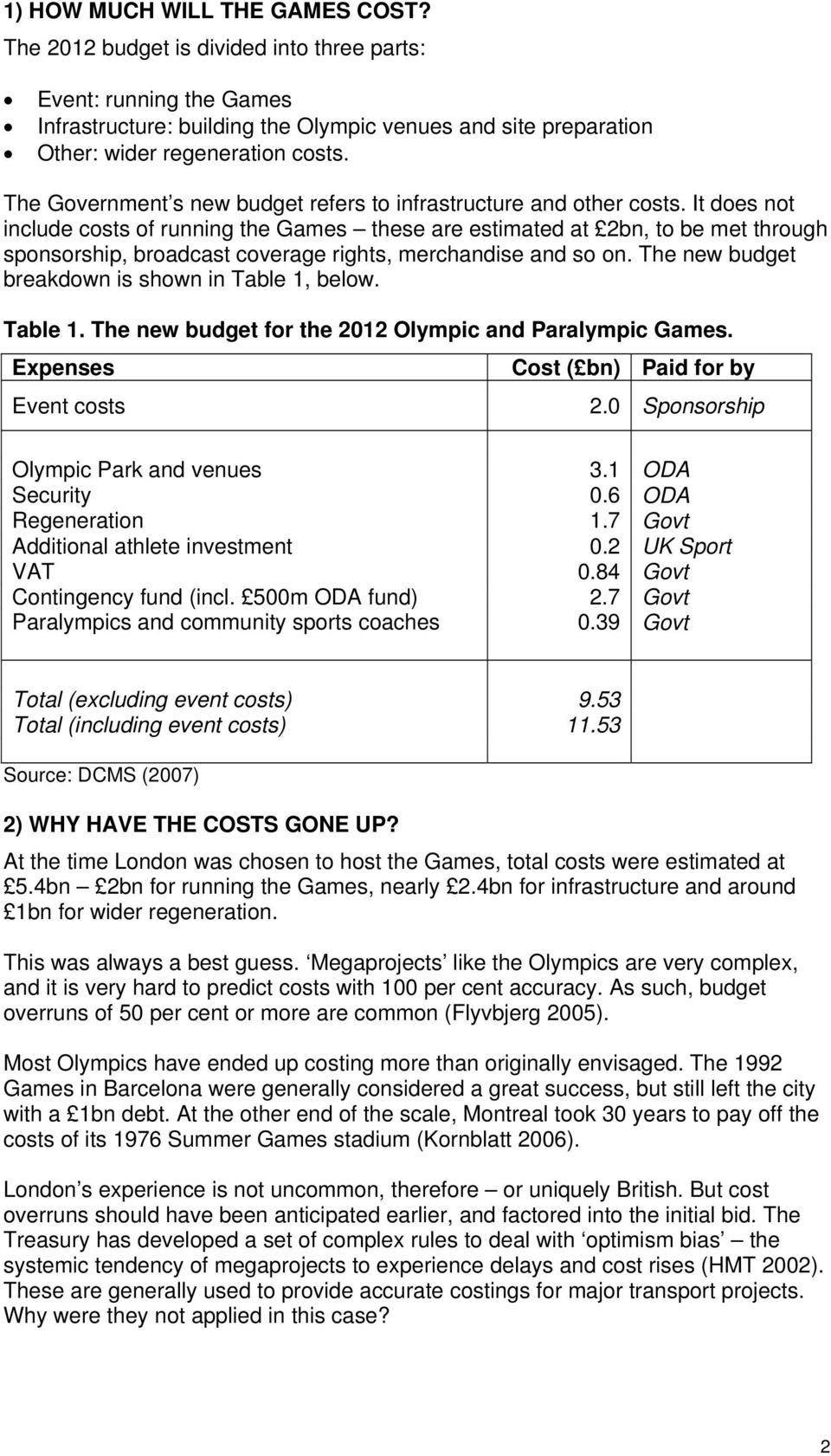 It does not include costs of running the Games these are estimated at 2bn, to be met through sponsorship, broadcast coverage rights, merchandise and so on.