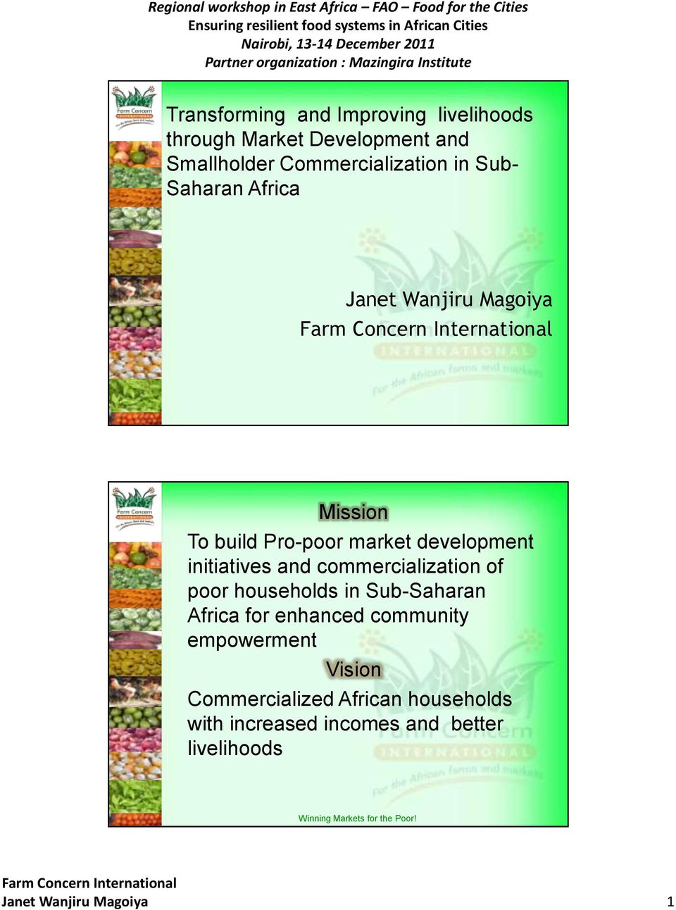 commercialization of poor households in Sub-Saharan Africa for enhanced community empowerment Vision