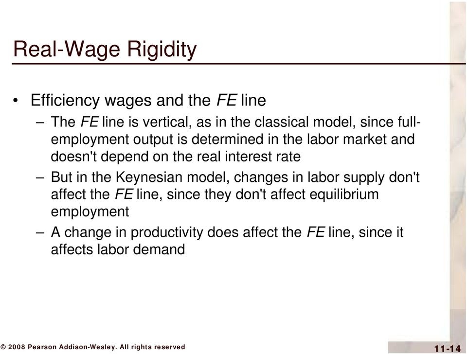 rate But in the Keynesian model, changes in labor supply don't affect the FE line, since they don't