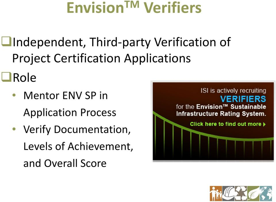 Role Mentor ENV SP in Application Process Verify