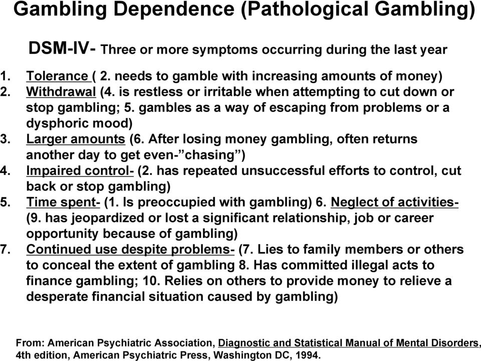 After losing money gambling, often returns another day to get even- chasing ) 4. Impaired control- (2. has repeated unsuccessful efforts to control, cut back or stop gambling) 5. Time spent- (1.