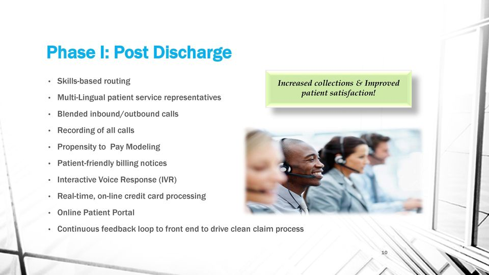Blended inbound/outbound calls Recording of all calls Propensity to Pay Modeling Patient-friendly billing