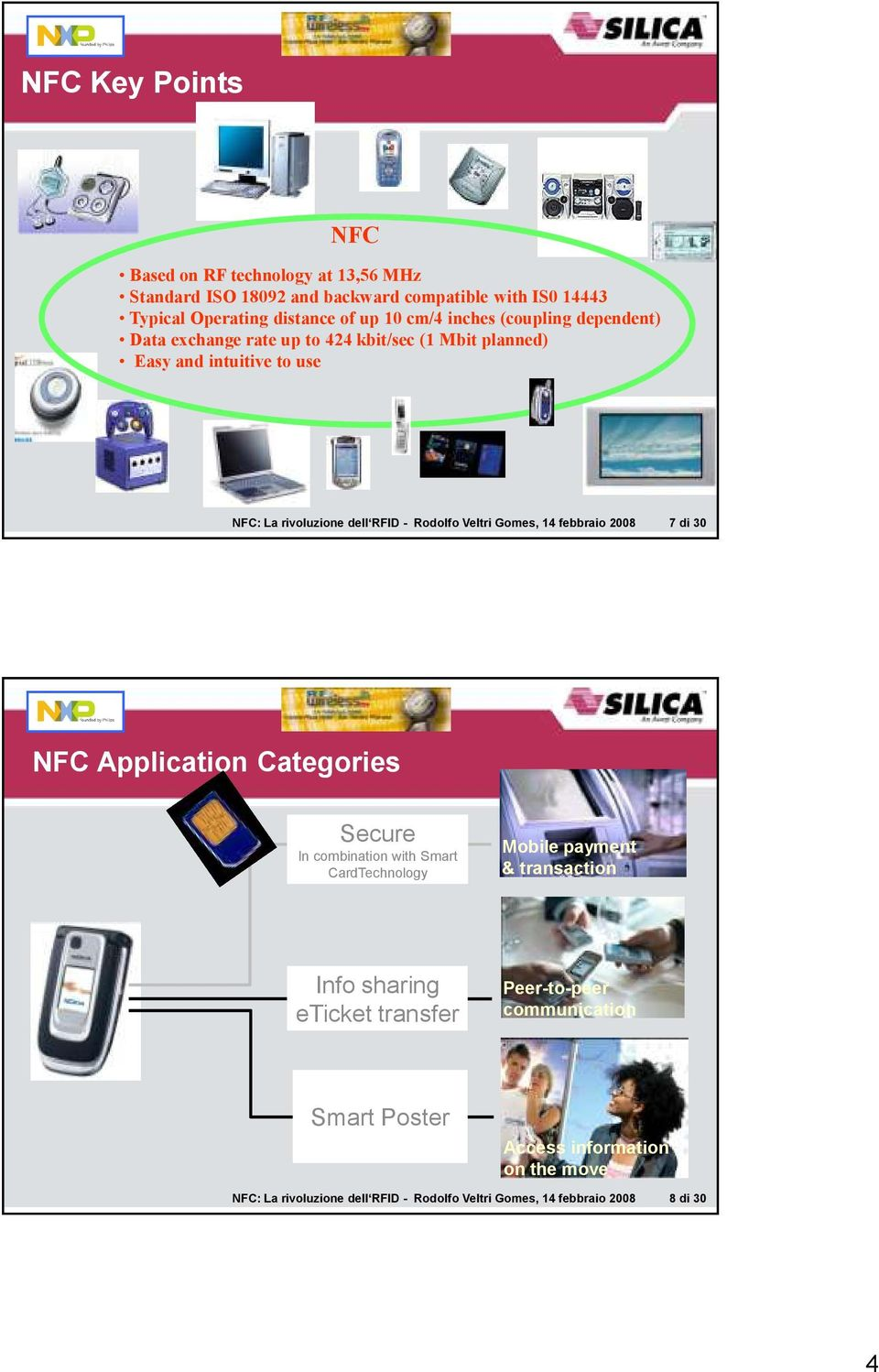 Gomes, 14 febbraio 2008 7 di 30 NFC Application Categories Secure In combination with Smart CardTechnology Mobile payment & transaction Info sharing eticket