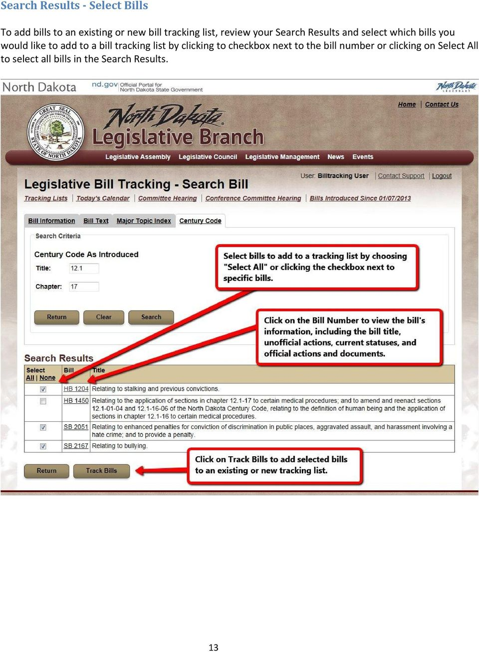 like to add to a bill tracking list by clicking to checkbox next to the
