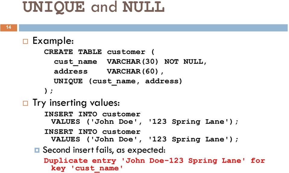 ('John Doe', '123 Spring Lane' INSERT INTO customer VALUES ('John Doe', '123 Spring Lane'