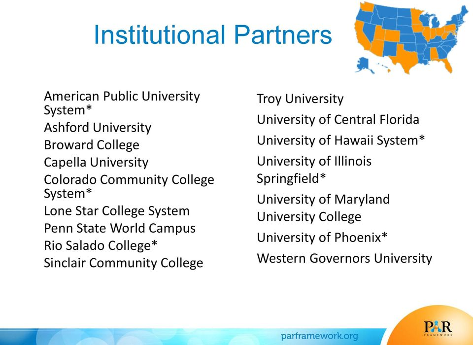 Sinclair Community College Troy University University of Central Florida University of Hawaii System*