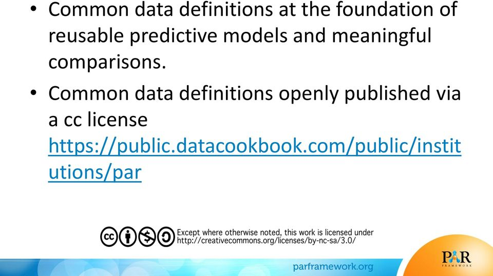 Common data definitions openly published via a cc