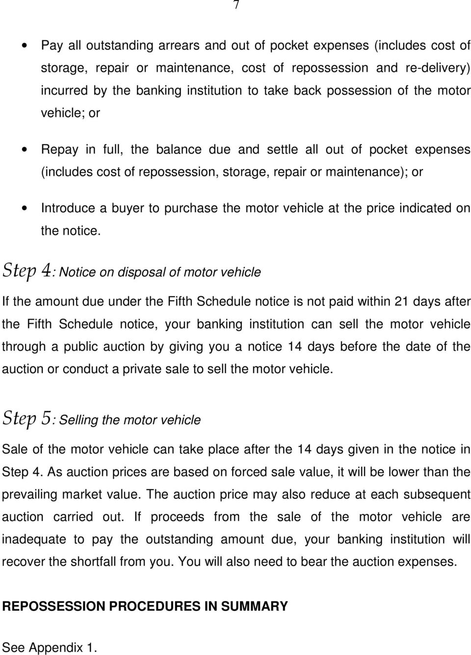 purchase the motor vehicle at the price indicated on the notice.