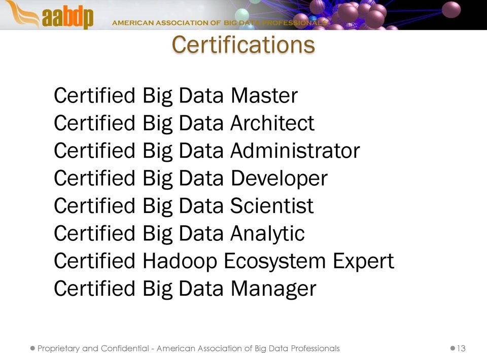 Certified Big Data Analytic Certified Hadoop Ecosystem Expert Certified Big Data
