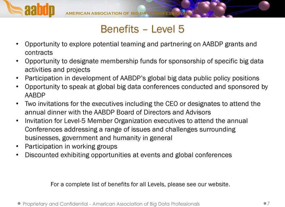 executives including the CEO or designates to attend the annual dinner with the AABDP Board of Directors and Advisors Invitation for Level-5 Member Organization executives to attend the annual
