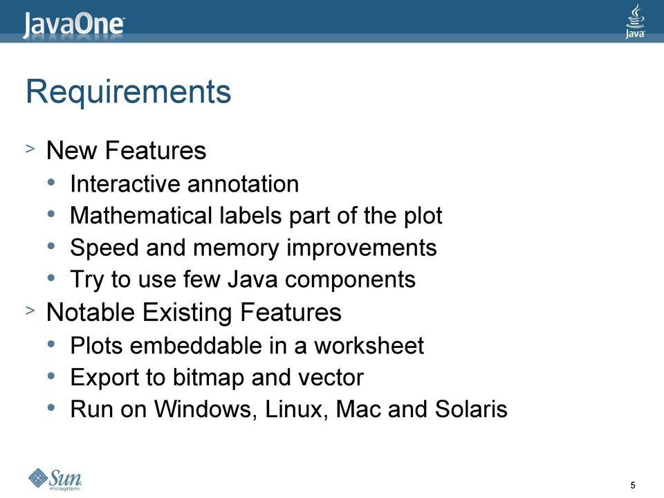Java components > Notable Existing Features Plots embeddable in a