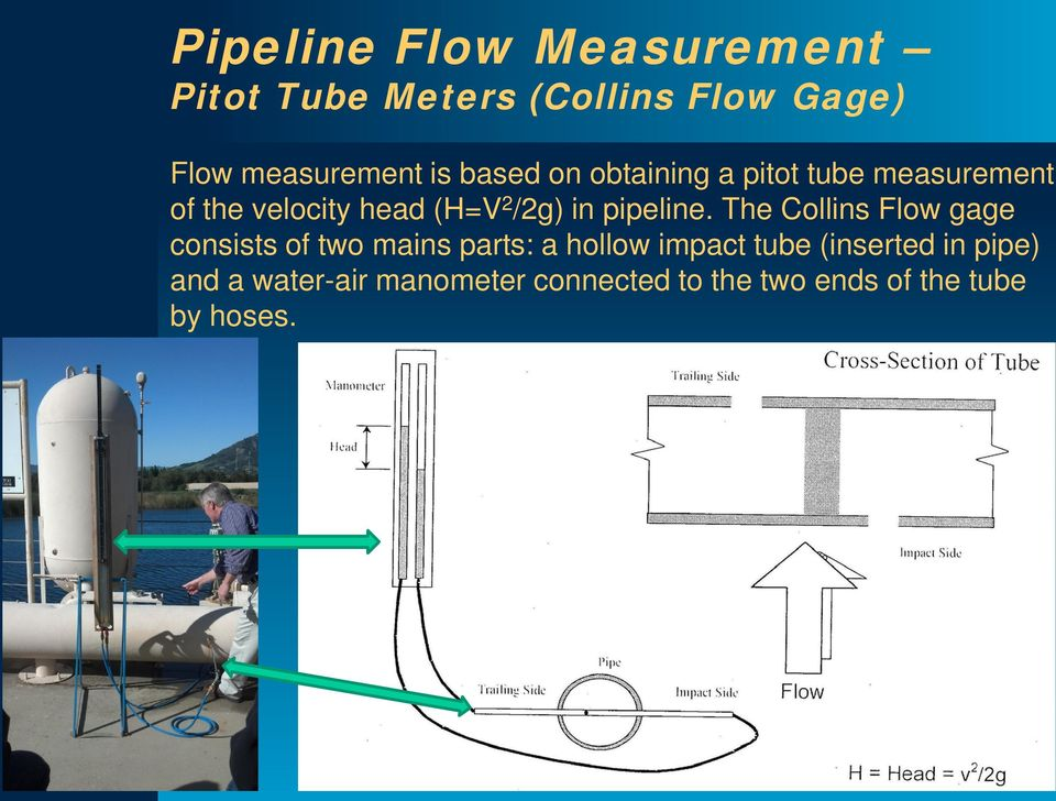 The Collins Flow gage consists of two mains parts: a hollow impact tube