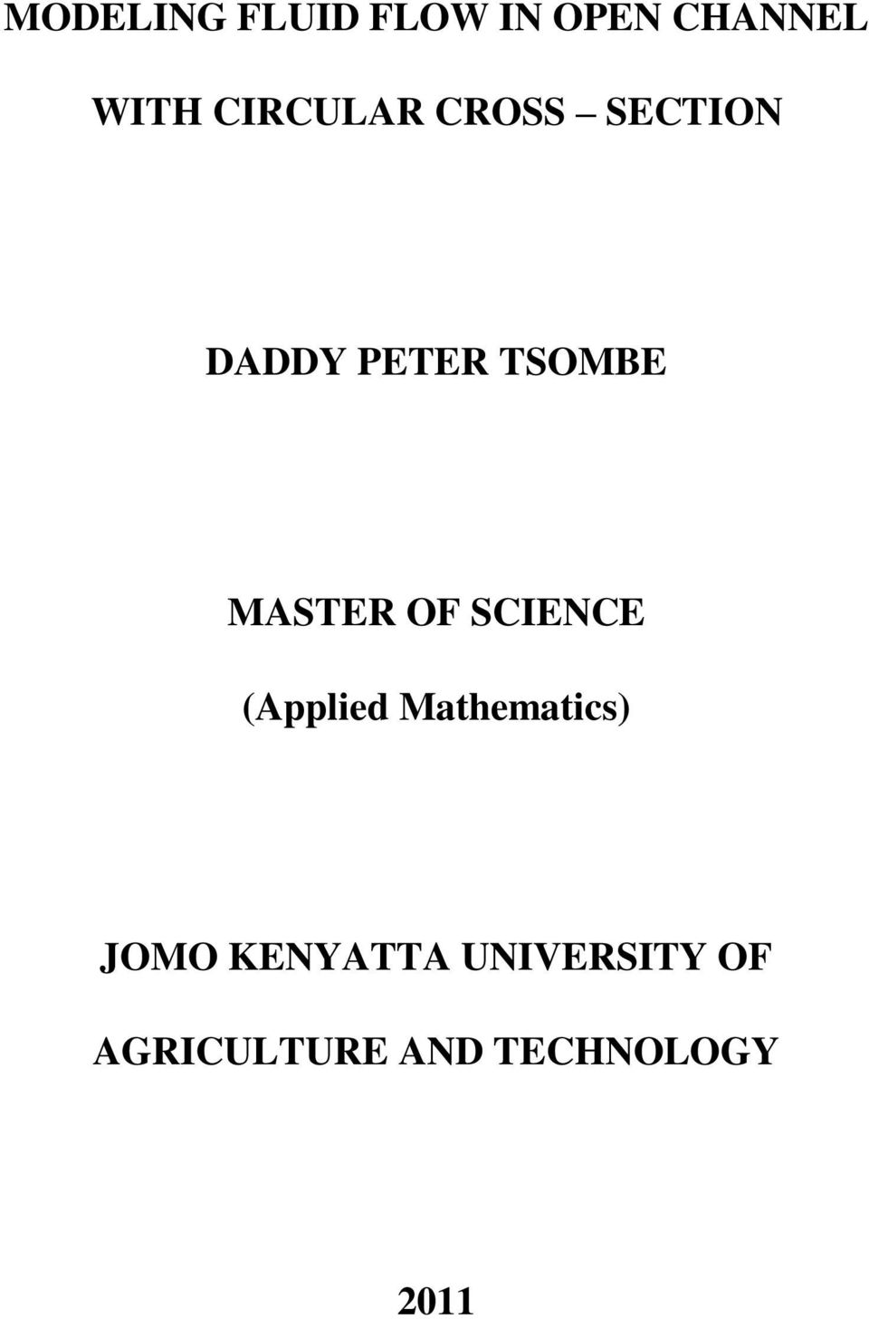 MASTER OF SCIENCE (Applied Mathematics) JOMO
