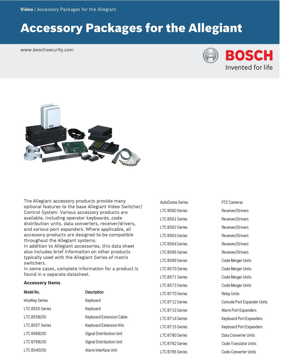 Various accessory products are available, including operator keyboards, code distribution units, data converters, receiver/drivers, and various port expanders.