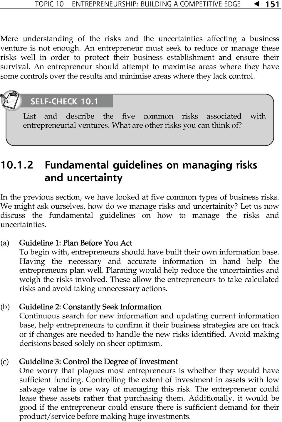 describe how to manage risks associated