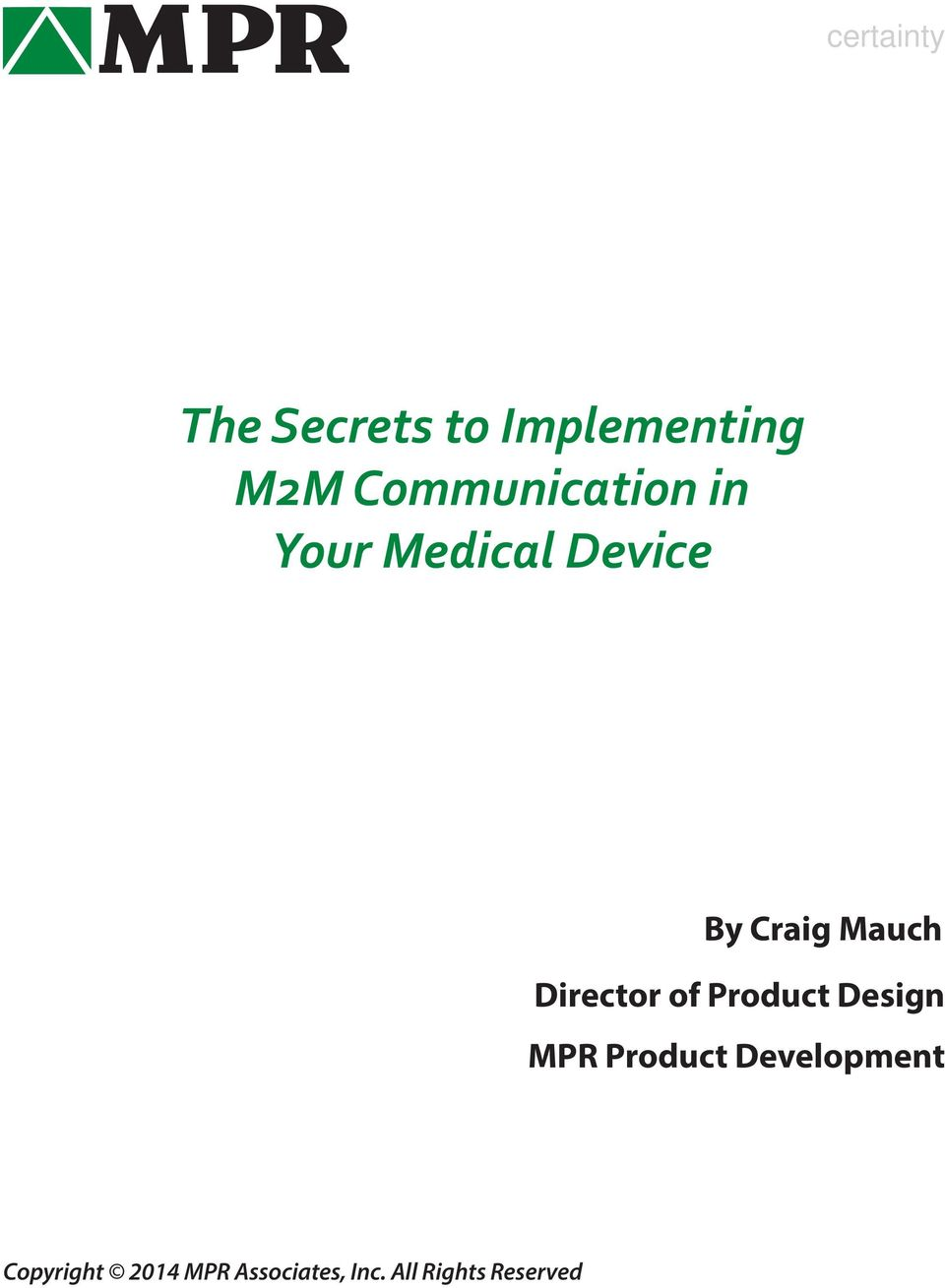 Mauch Director of Product Design MPR Product