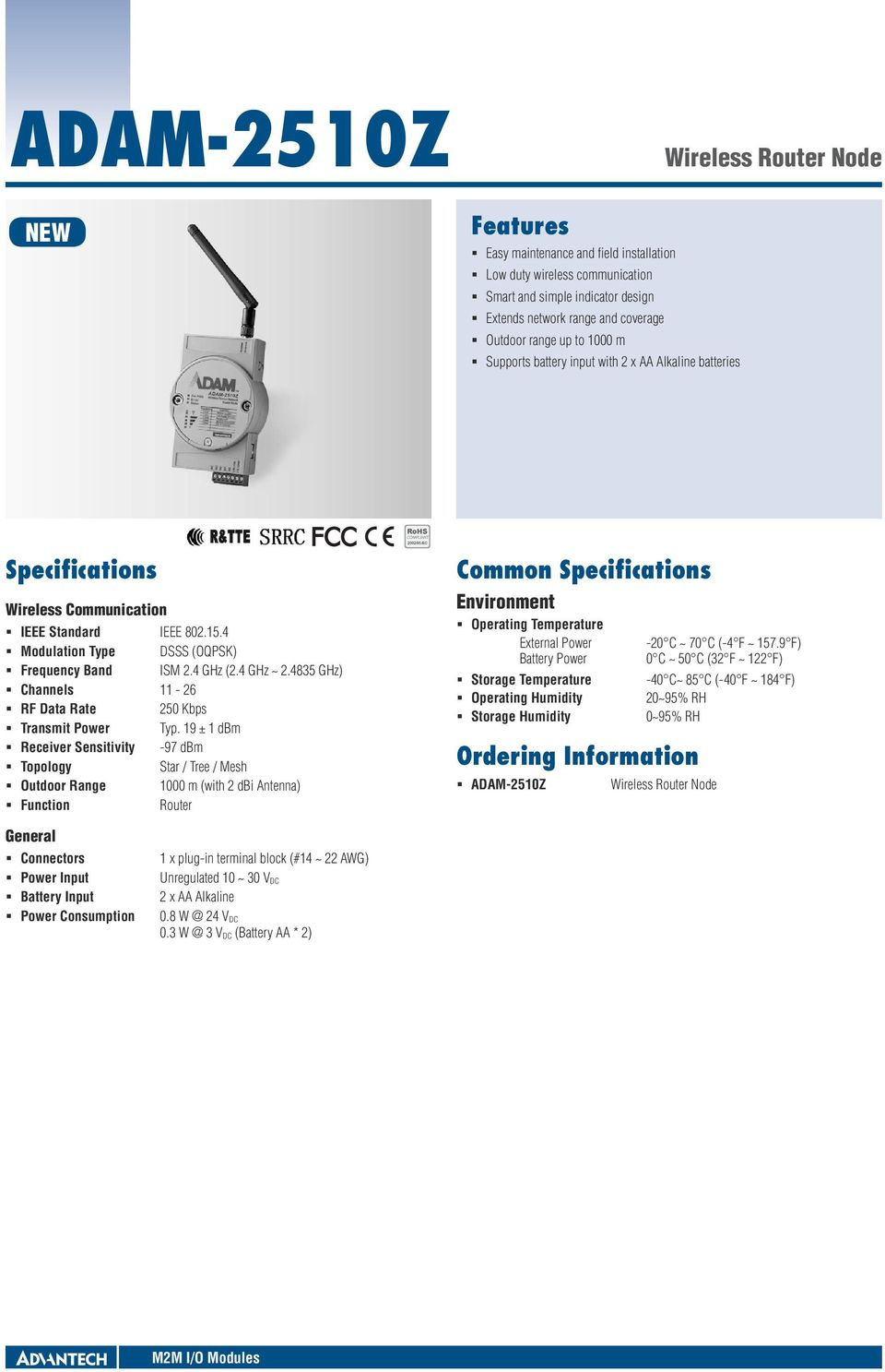 4835 GHz) Channels 11-26 RF Data Rate 250 Kbps Transmit Power Typ.