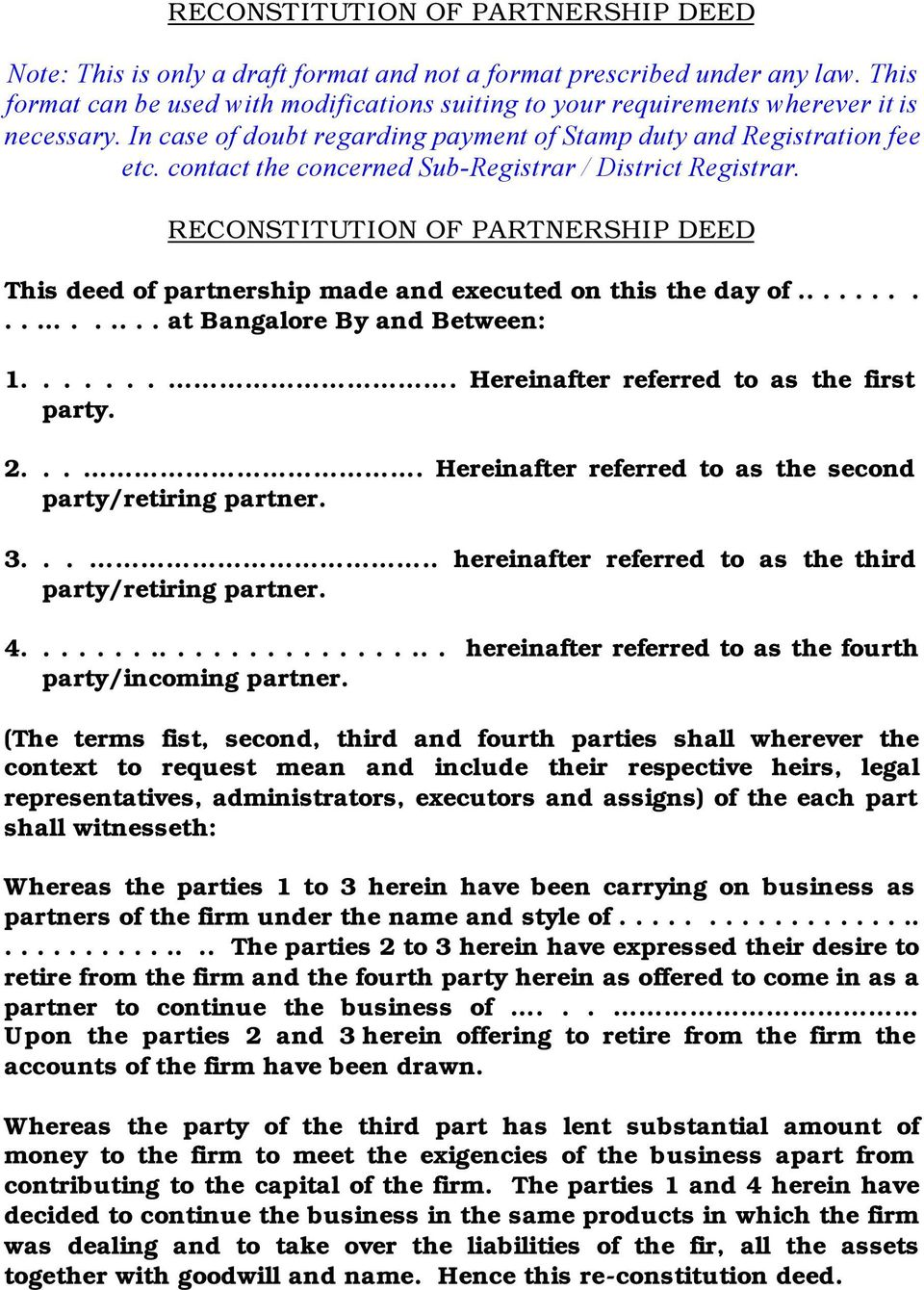Reconstitution of partnership deed reconstitution of partnership contact the concerned sub registrar district registrar reconstitution of partnership deed this deed thecheapjerseys Images