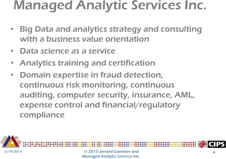 Domain expertise in fraud detection, continuous risk monitoring, continuous