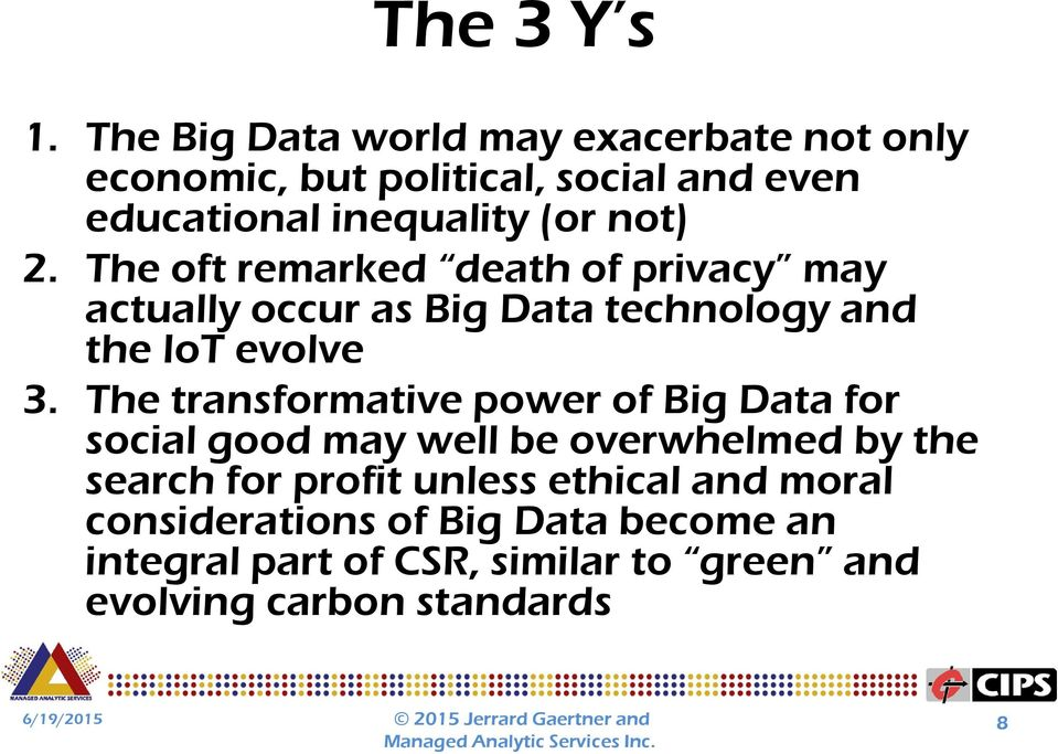 2. The oft remarked death of privacy may actually occur as Big Data technology and the IoT evolve 3.
