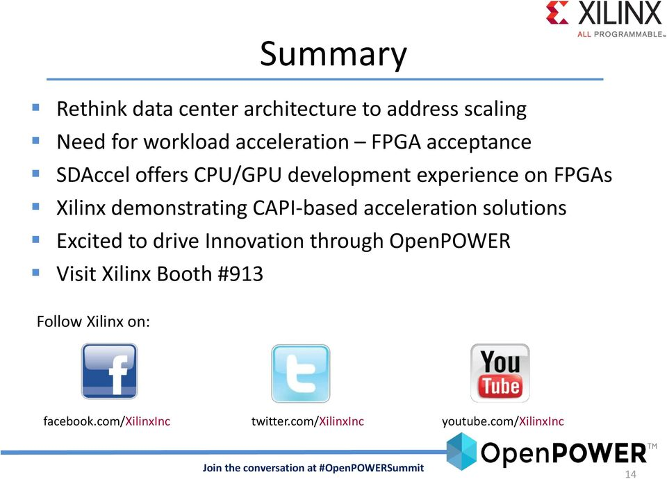 CAPI-based acceleration solutions Excited to drive Innovation through OpenPOWER Visit Xilinx