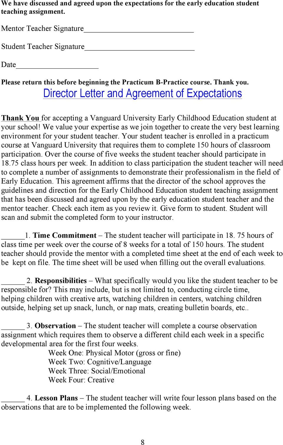 Director Letter and Agreement of Expectations Thank You for accepting a Vanguard University Early Childhood Education student at your school!