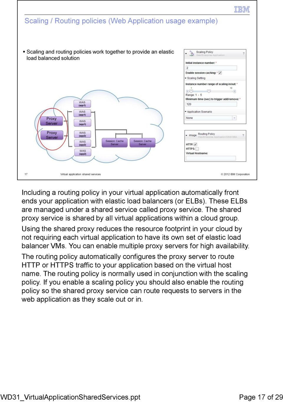 Using the shared proxy reduces the resource footprint in your cloud by not requiring each virtual application to have its own set of elastic load balancer VMs.