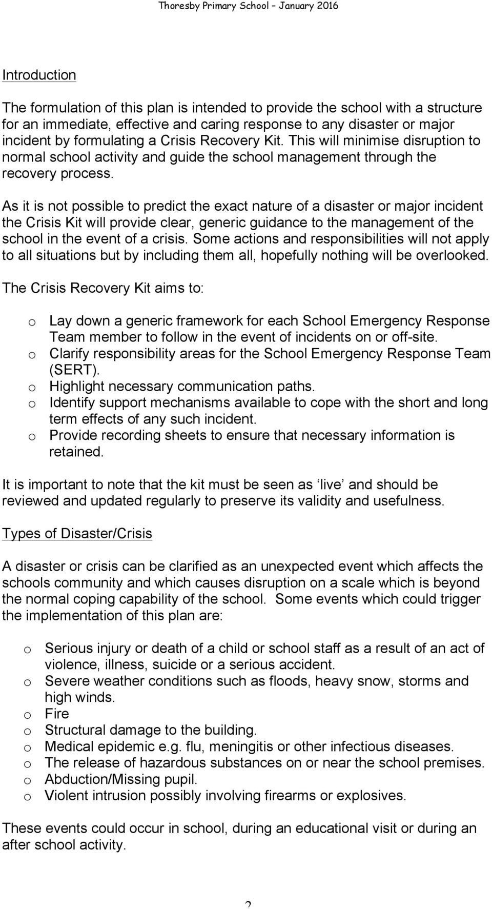 Thoresby Primary School Disaster Recovery Plan - PDF