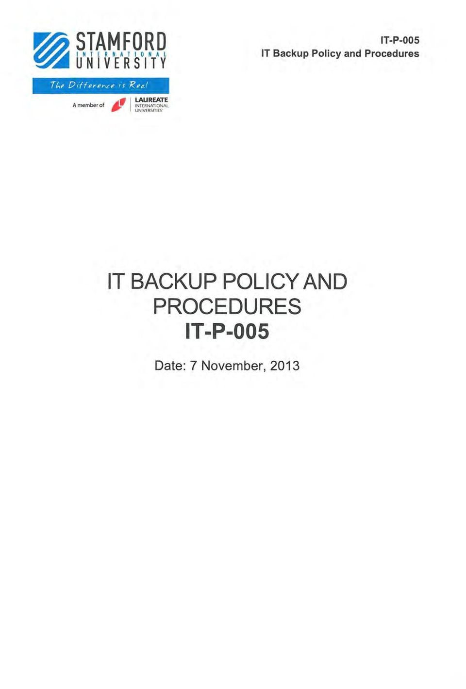 , UNIVERSITIES IT BACKUP POLICY