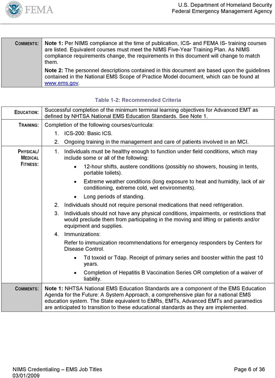 Note 2: The personnel descriptions contained in this document are based upon the guidelines contained in the National EMS Scope of Practice Model document, which can be found at www.ems.gov.