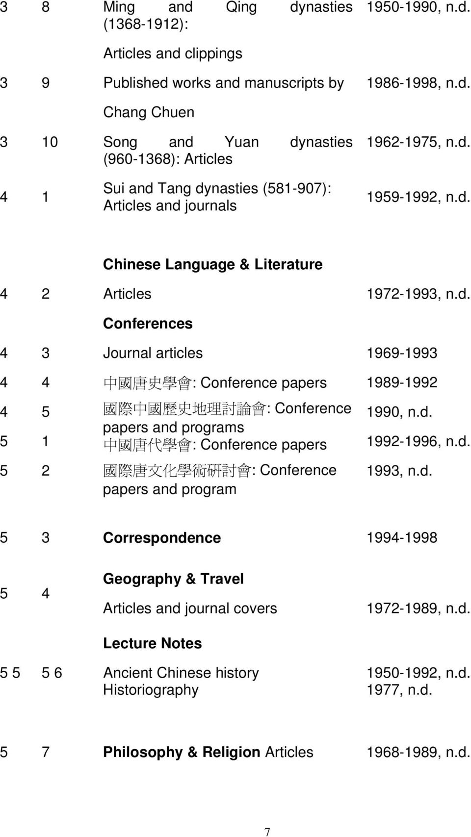 d. 1992-1996, n.d. 2 國 際 唐 文 化 學 術 研 討 會 : Conference papers and program 1993, n.d. 3 Correspondence 199-1998 Geography & Travel Articles and journal covers Lecture Notes 1972-1989, n.d. 6 Ancient Chinese history Historiography 190-1992, n.