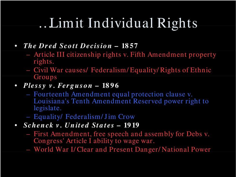 Louisiana's s Tenth Amendment Reserved power right to legislate. Equality/ Federalism/Jim Crow Schenck v.