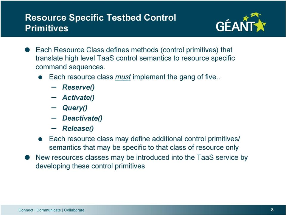 command sequences.! Each resource class must implement the gang of five.. Reserve() Activate() Query() Deactivate() Release()!