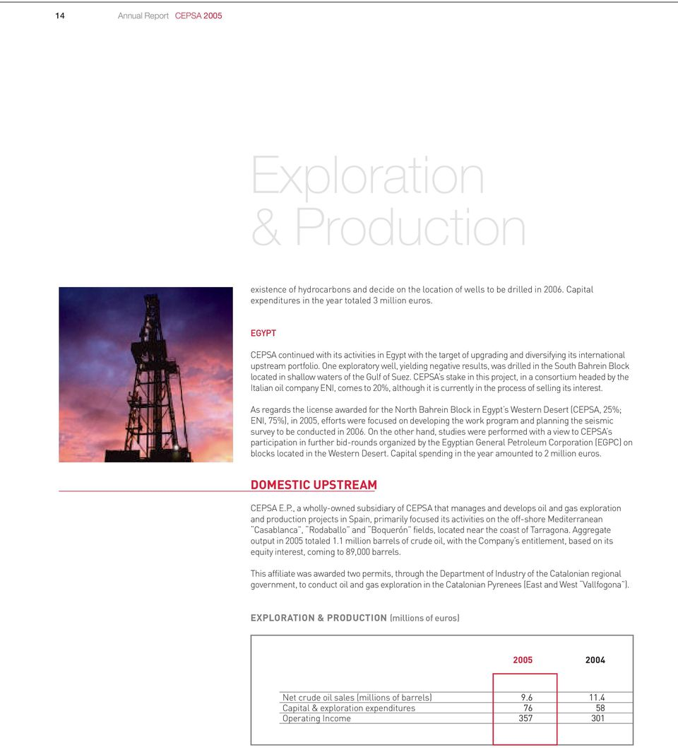 One exploratory well, yielding negative results, was drilled in the South Bahrein Block located in shallow waters of the Gulf of Suez.