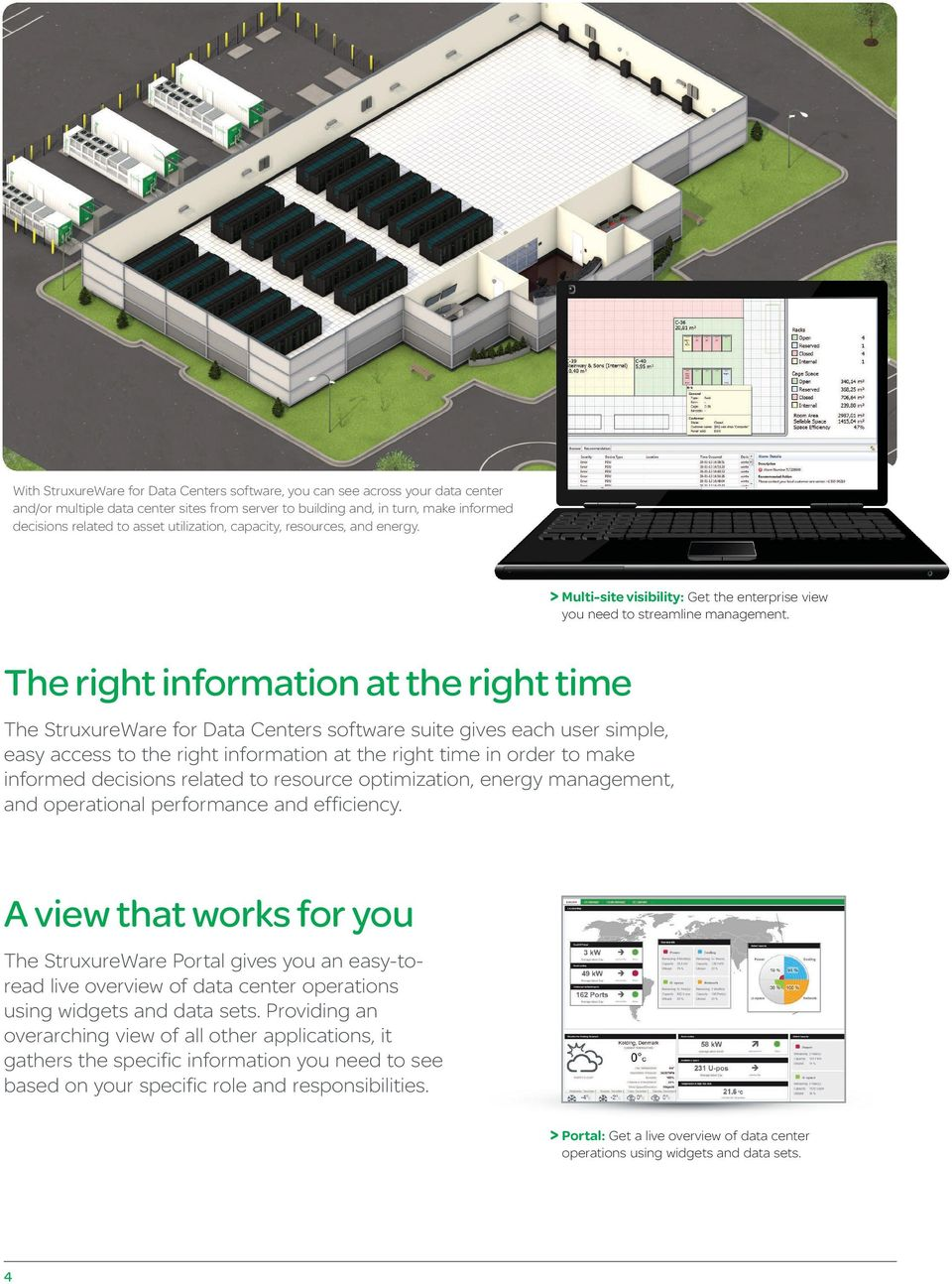 The right information at the right time The StruxureWare for Data Centers software suite gives each user simple, easy access to the right information at the right time in order to make informed