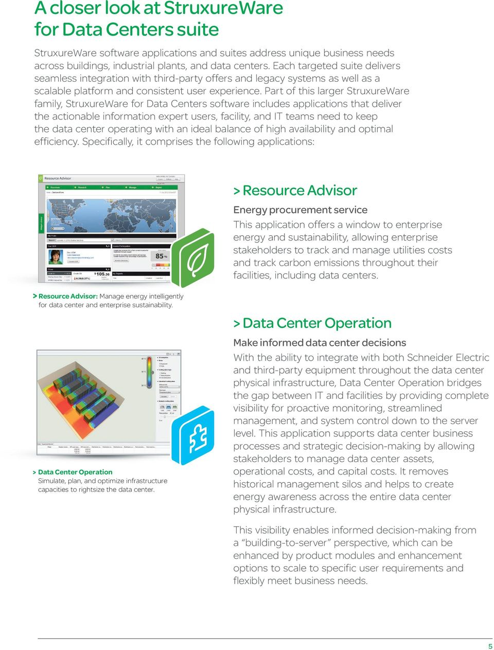 Part of this larger StruxureWare family, StruxureWare for Data Centers software includes applications that deliver the actionable information expert users, facility, and IT teams need to keep the