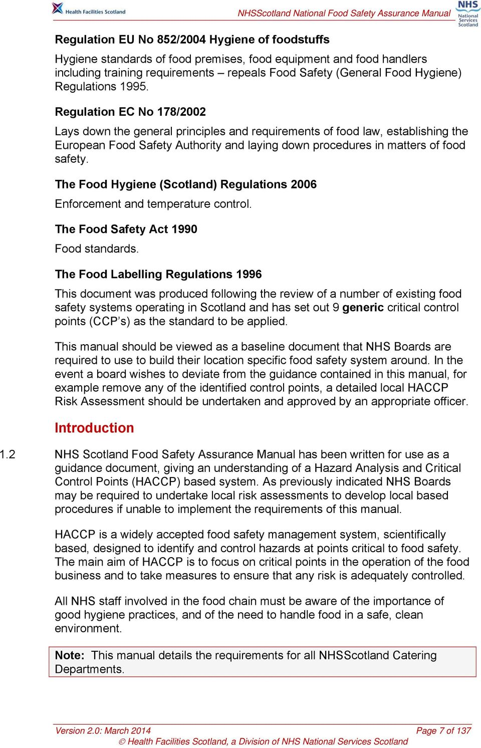 Nhsscotland National Food Safety Assurance Manual Pdf Free