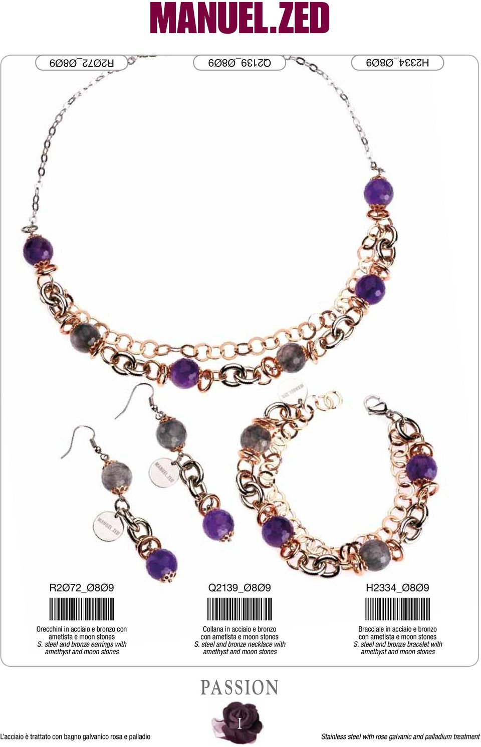 steel and bronze necklace with amethyst and moon stones Bracciale in acciaio e bronzo con ametista e moon stones S.