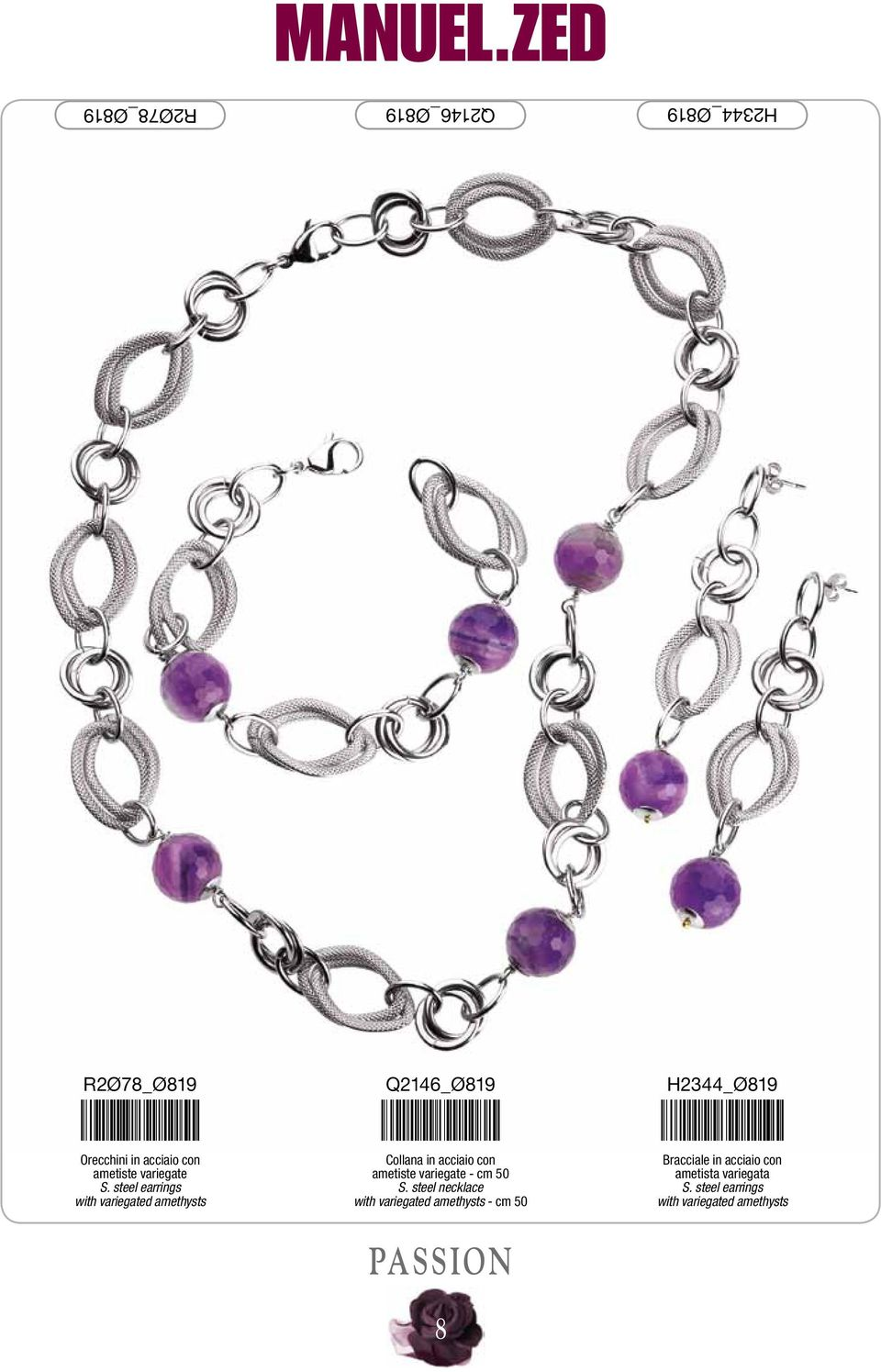steel earrings with variegated amethysts Collana in acciaio con ametiste variegate - cm