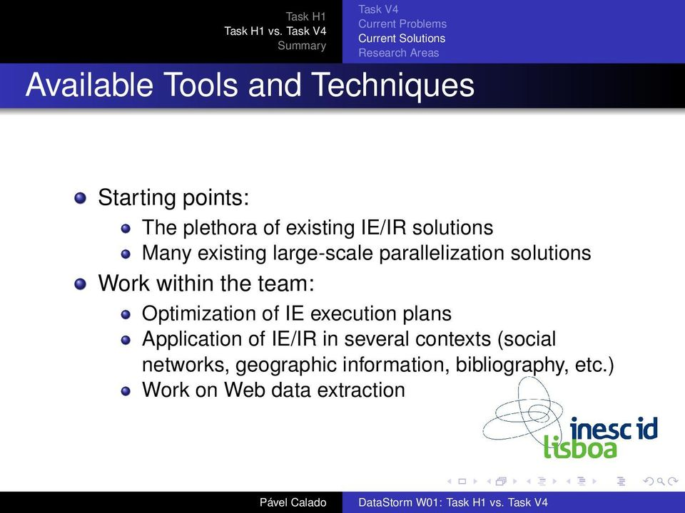 Optimization of IE execution plans Application of IE/IR in several contexts (social