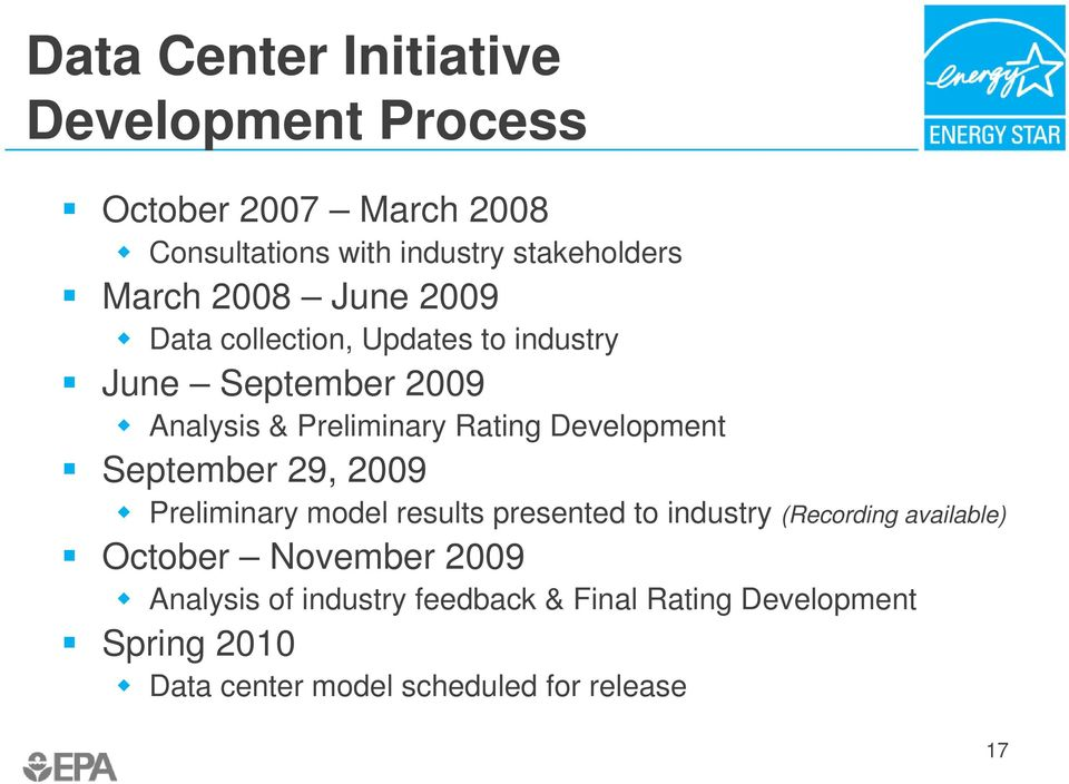 Development September 29, 2009 Preliminary model results presented to industry (Recording available) October