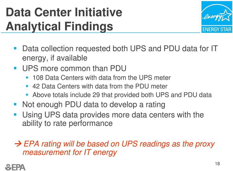 include 29 that provided both UPS and PDU data Not enough PDU data to develop a rating Using UPS data provides more data