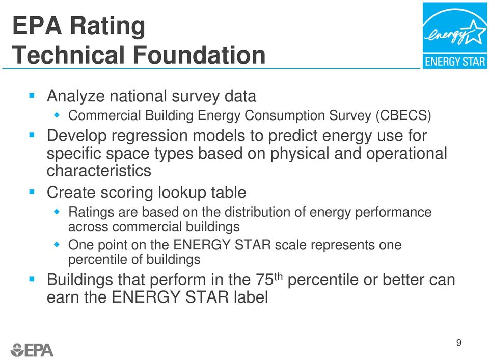 lookup table Ratings are based on the distribution of energy performance across commercial buildings One point on the ENERGY STAR