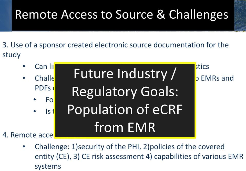 Future Industry / Challenges: SAME Challenges as remote access to EMRs and PDFs emailed Regulatory Goals: For CEs, this is PHI.
