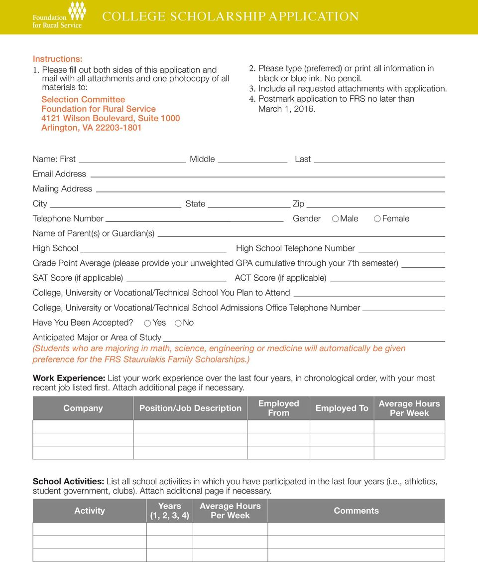 Arlington, VA 22203-1801 2. Please type (preferred) or print all information in black or blue ink. No pencil. 3. Include all requested attachments with application. 4.