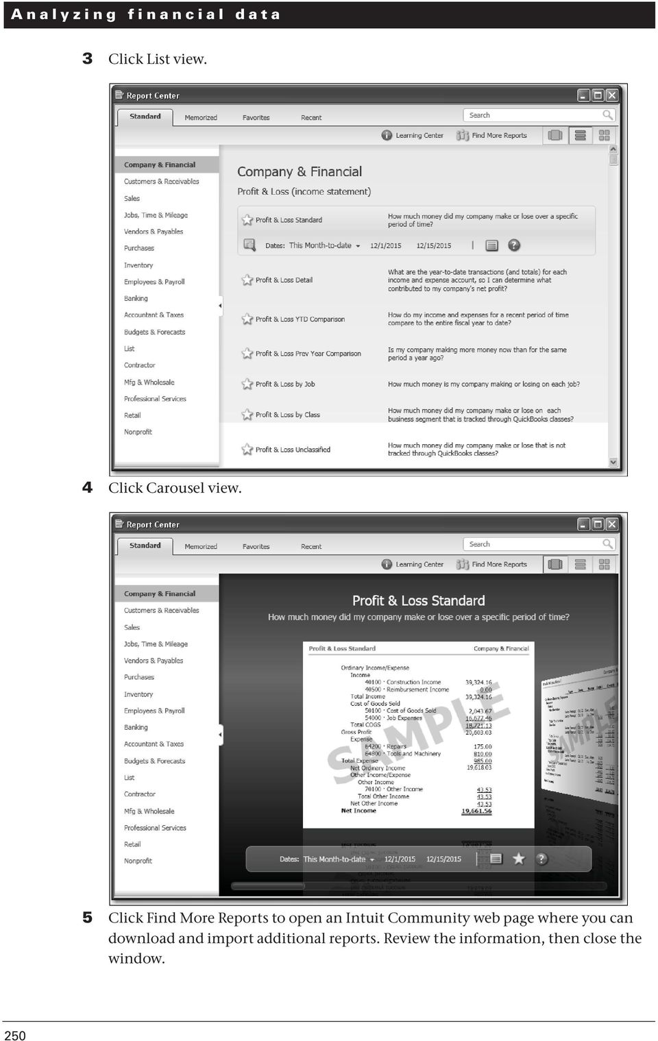 5 Click Find More Reports to open an Intuit Community web