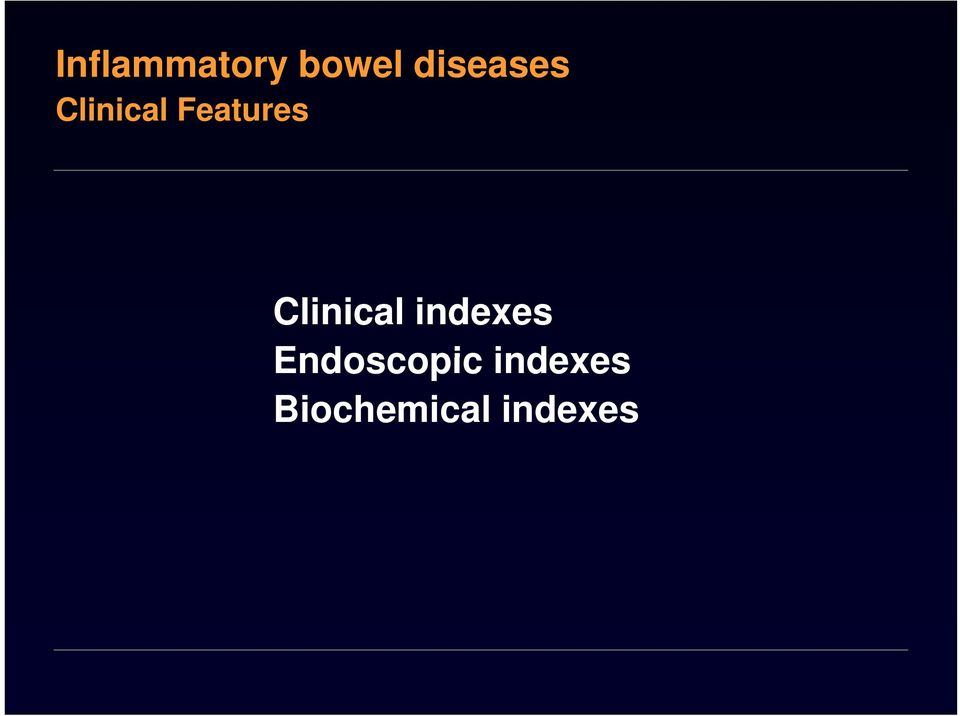 Features Clinical indexes