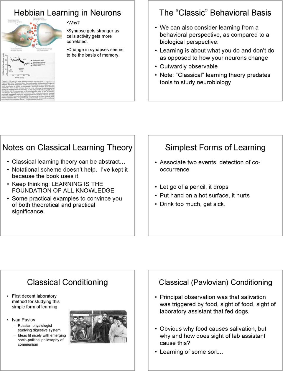 neurons change Outwardly observable Note: Classical learning theory predates tools to study neurobiology Notes on Classical Learning Theory Classical learning theory can be abstract Notational scheme