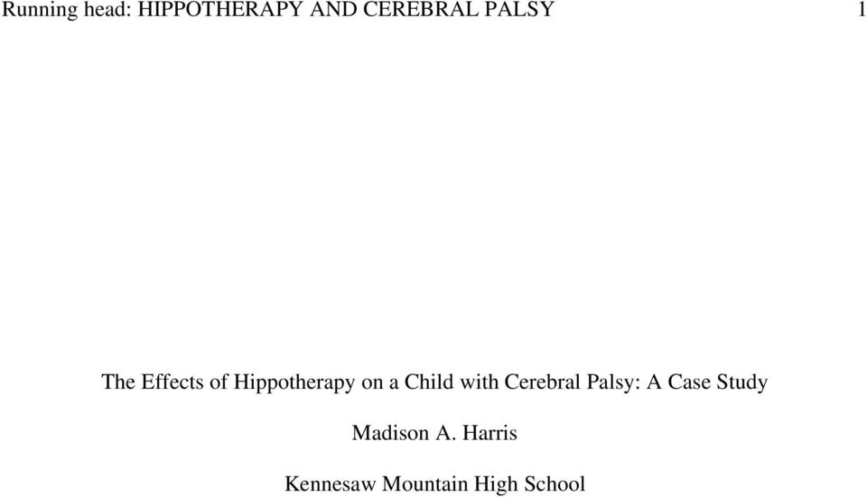 Child with Cerebral Palsy: A Case Study