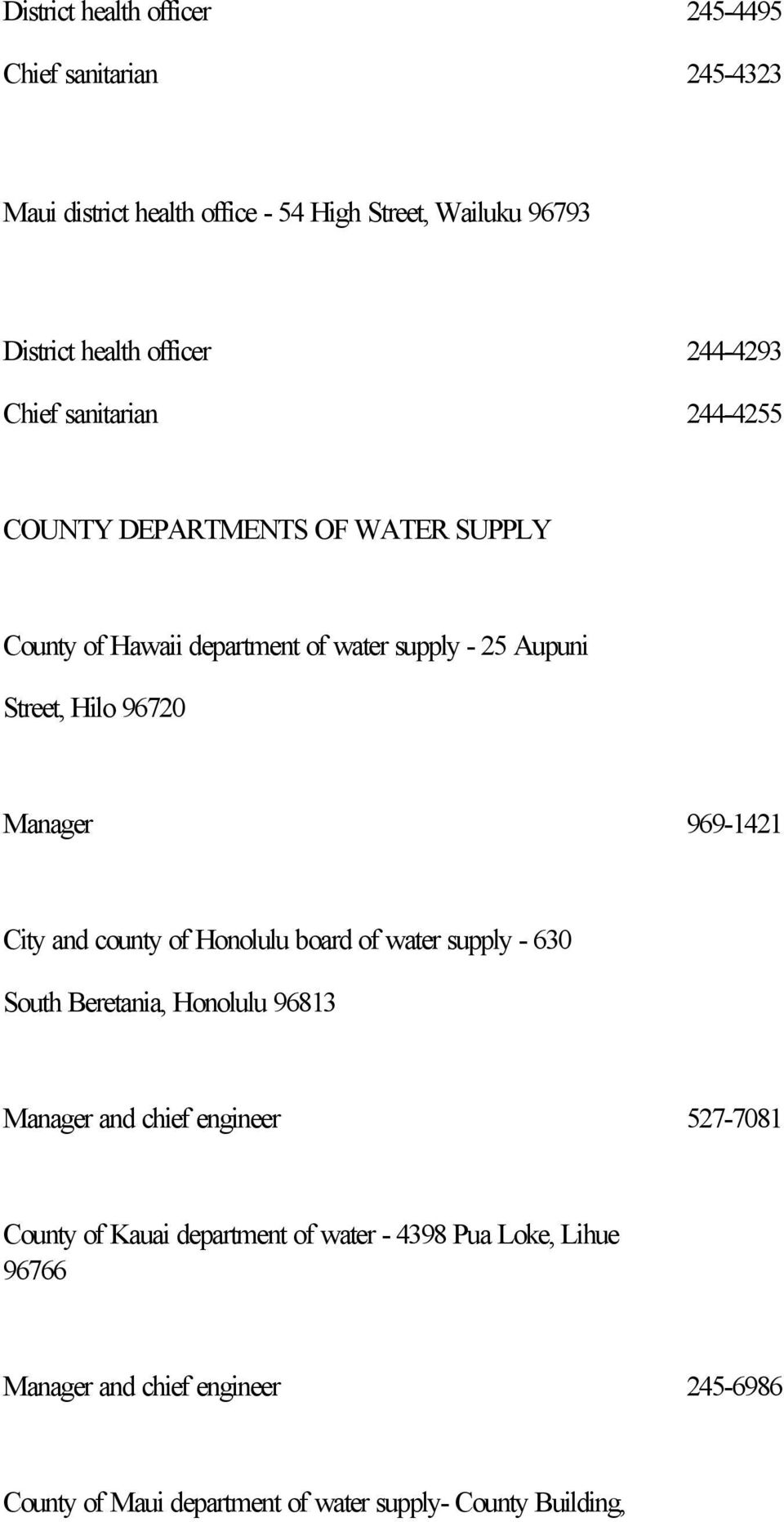 Manager 969-1421 City and county of Honolulu board of water supply - 630 South Beretania, Honolulu 96813 Manager and chief engineer 527-7081 County